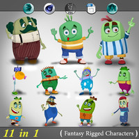 3d 11 1 fantasy rigged cartoon model