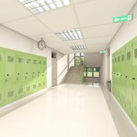 School Hallway 002