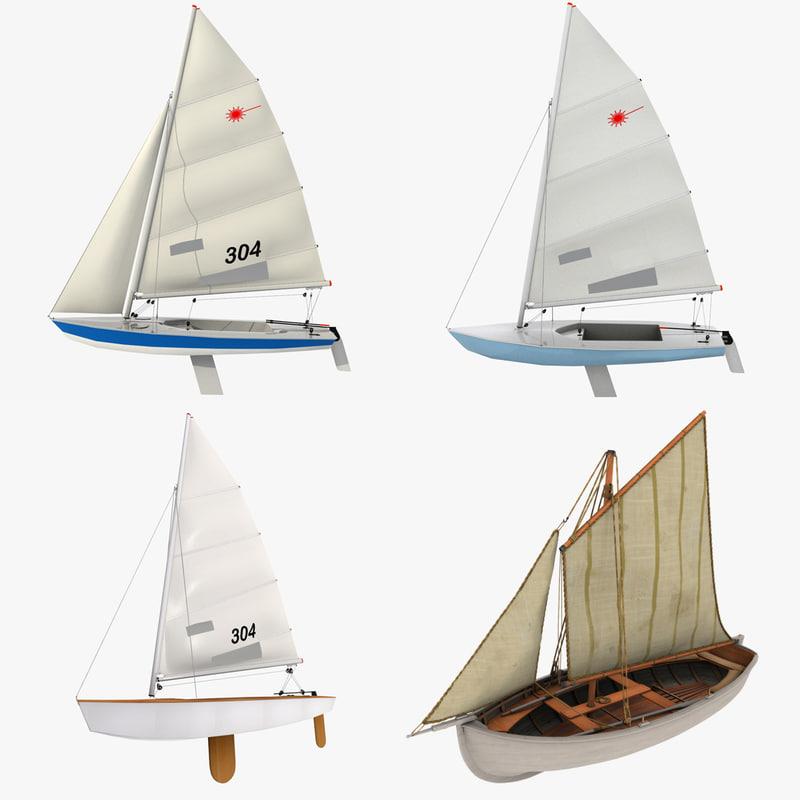 3d model sailboats laser class
