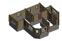 revit wood beam house 3d model
