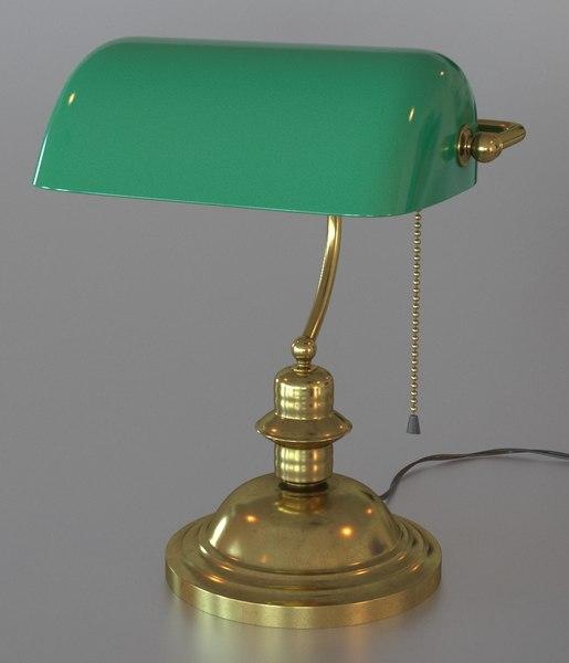 3d model classical green lamp