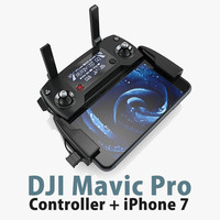 DJI Mavic Pro Controller + Apple iPhone 7 Black Matte