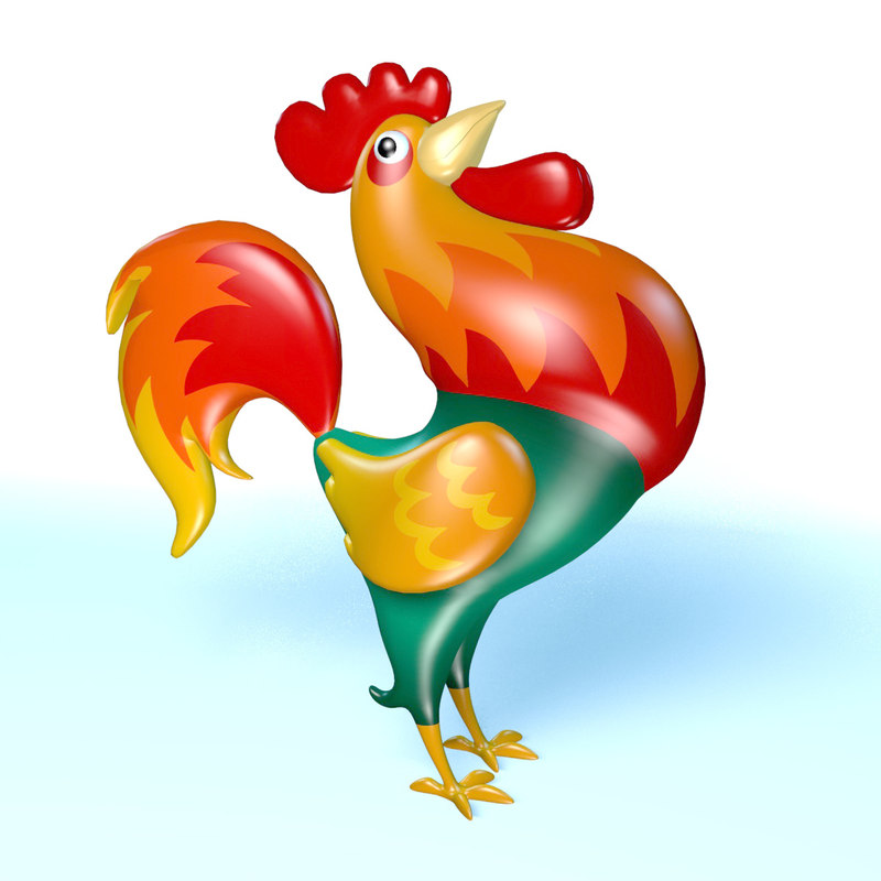 3d cartoon rooster model