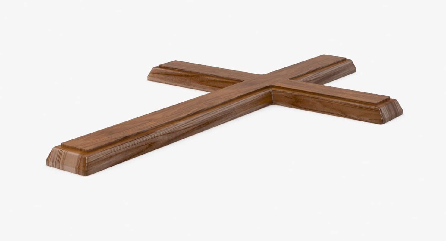 wooden cross 04 3d model
