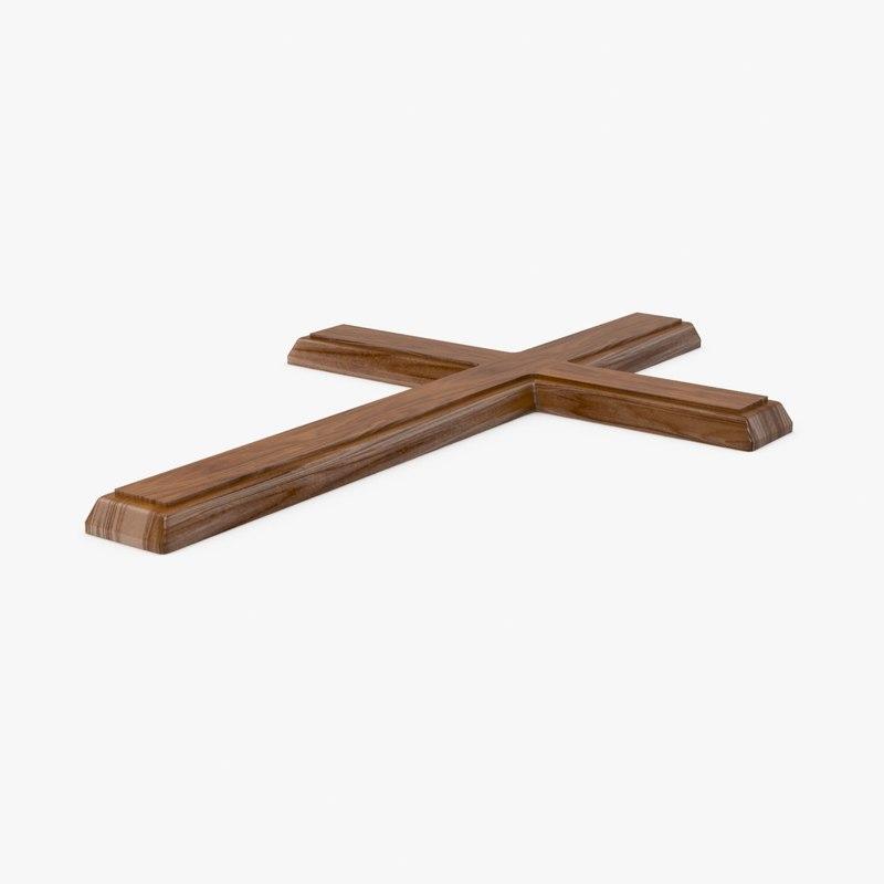 wooden cross 04 3d model