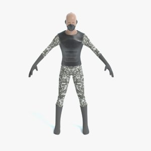 3d male urban soldier