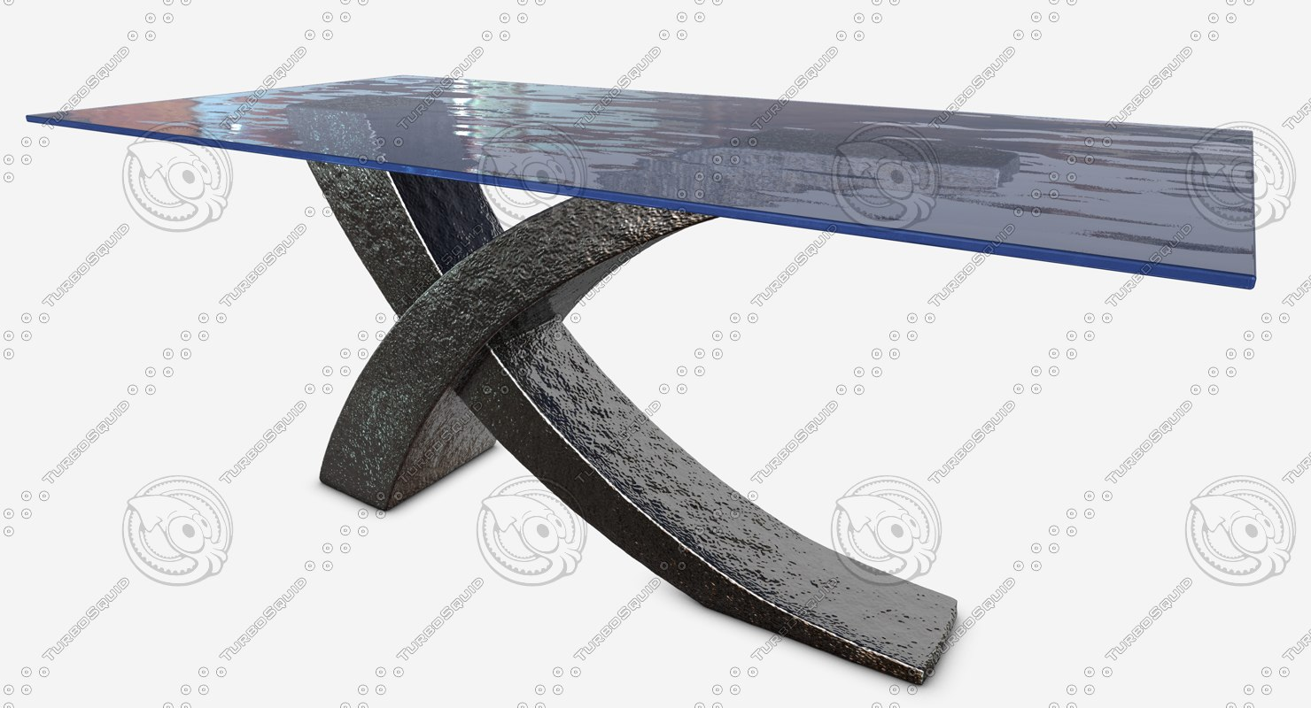 stainless steel table glass 3d model