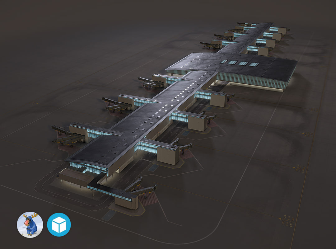 low-poly airport terminal max