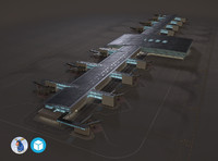 3d low-poly airport terminal