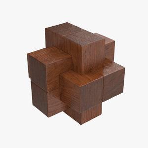 wooden puzzle 3d model