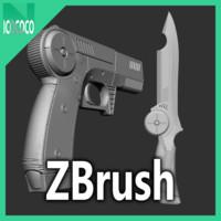 zbrush sci-fi pistol knife 3d 3ds