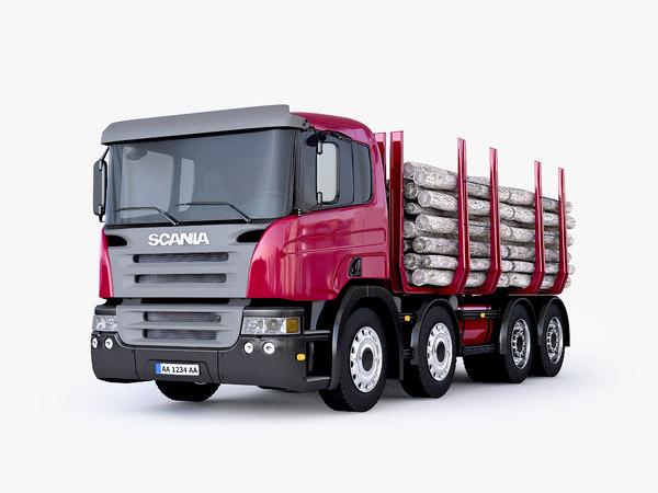 3d model scania timber truck