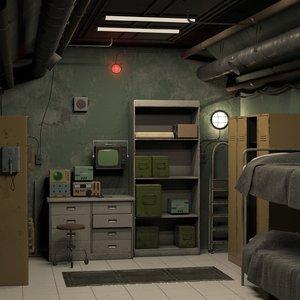 3d room bunker model