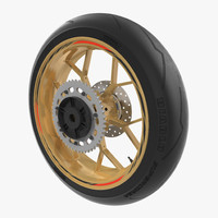 Sport Motorcycle Back Wheel 3D Model