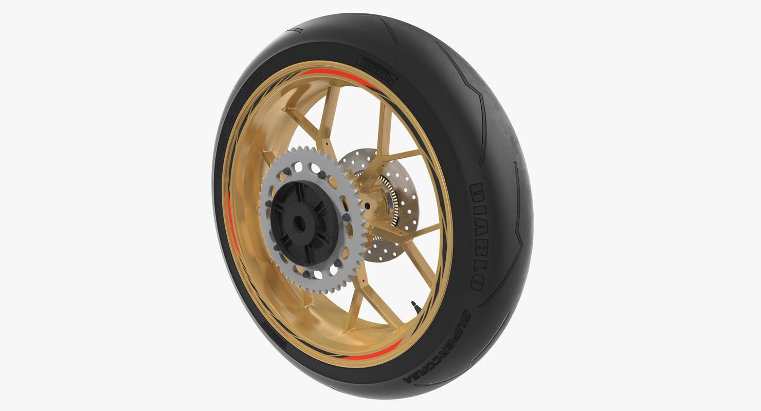3d sport motorcycle wheel model