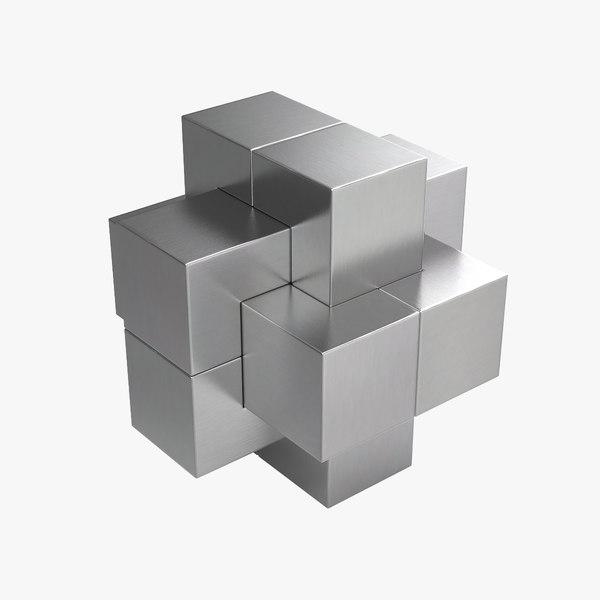metallic puzzle 3d model