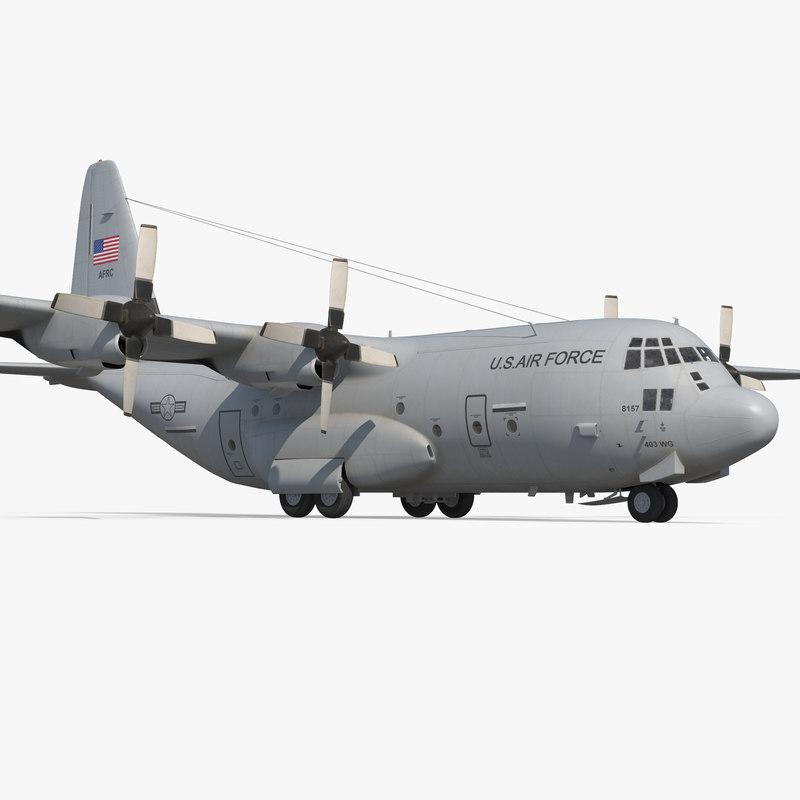 3d model lockheed c-130 hercules military transport