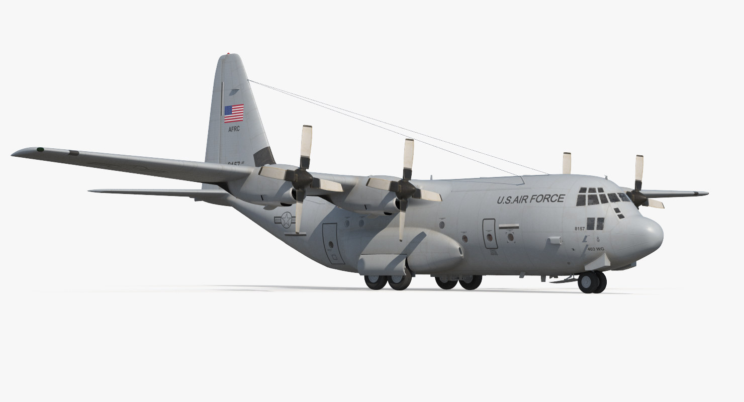 3d model lockheed c-130 hercules military transport