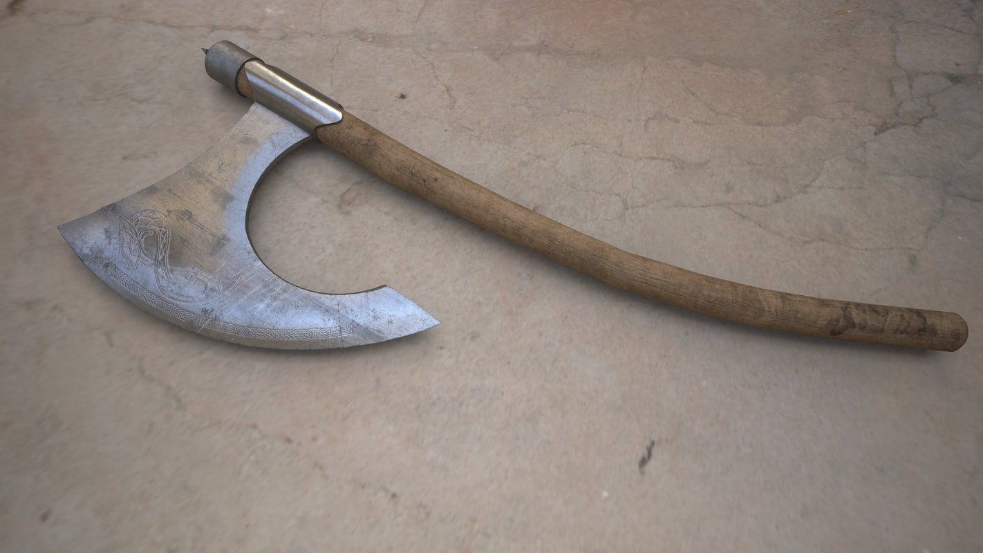 3d medieval viking axe
