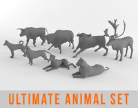 Ultimate Low Poly Animal Bundle Set Pack Bull Deer Dog Tiger