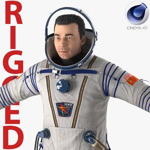 3d russian astronaut wearing space suit model
