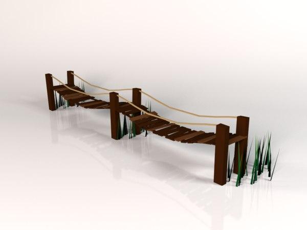wooden bridge 3d max