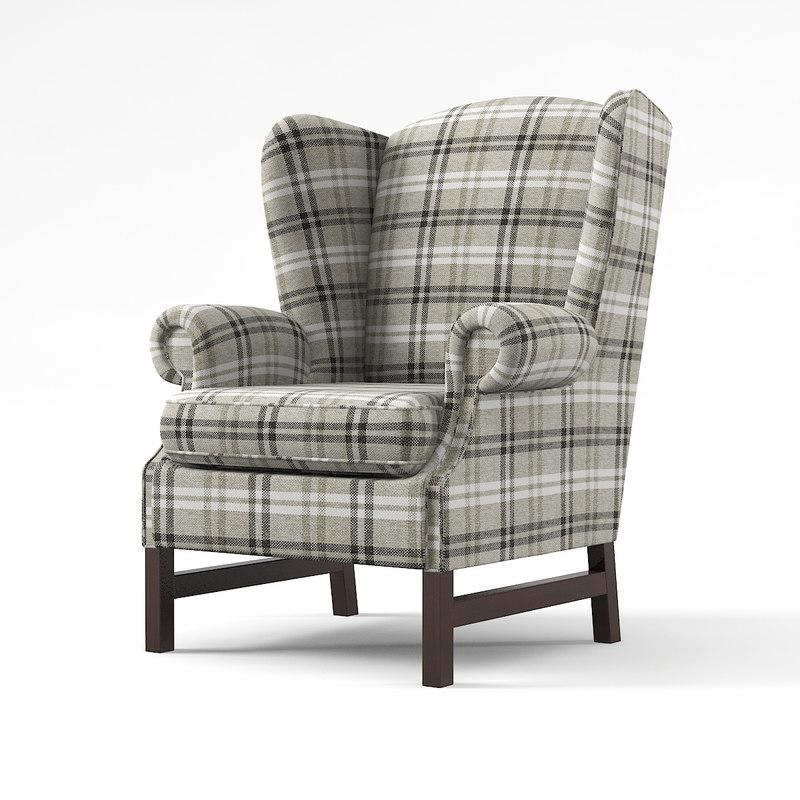 hotner bairon wing chair 3d model