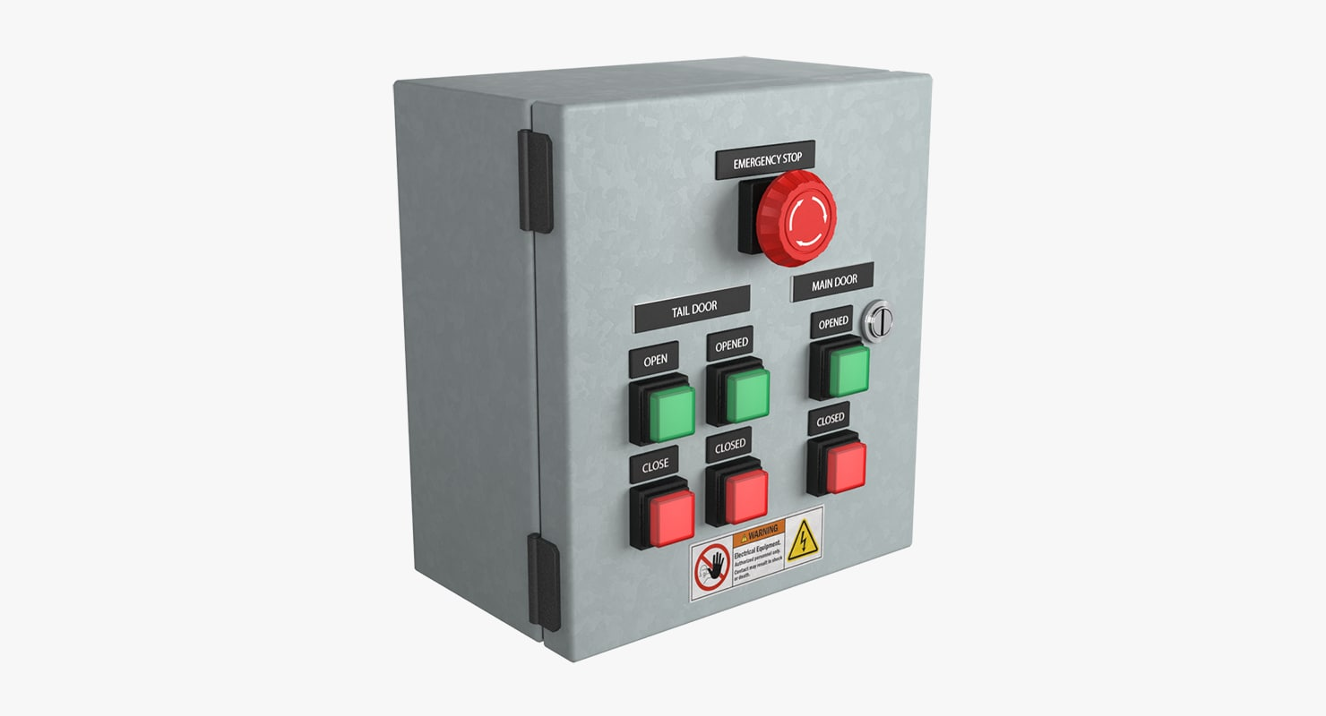 3d hangar doors control panel model