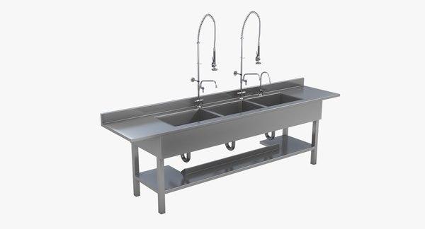 3ds triple basin sink