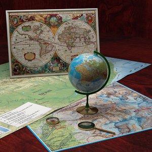 3d globe compass glass model