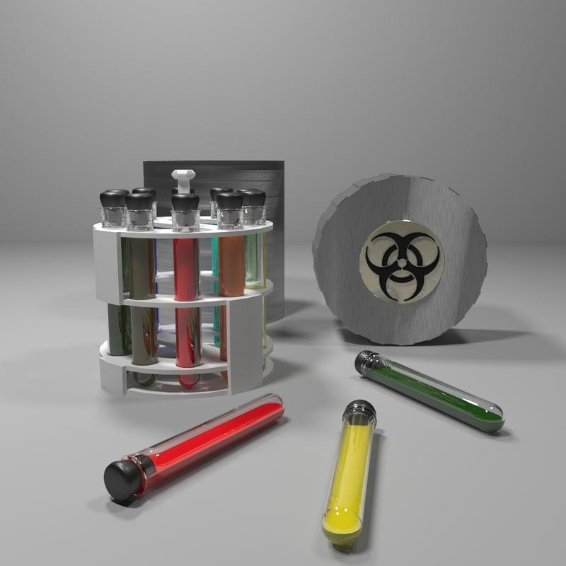 sci-fi test tubes set 3d max