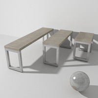 wooden forge bench 3d max