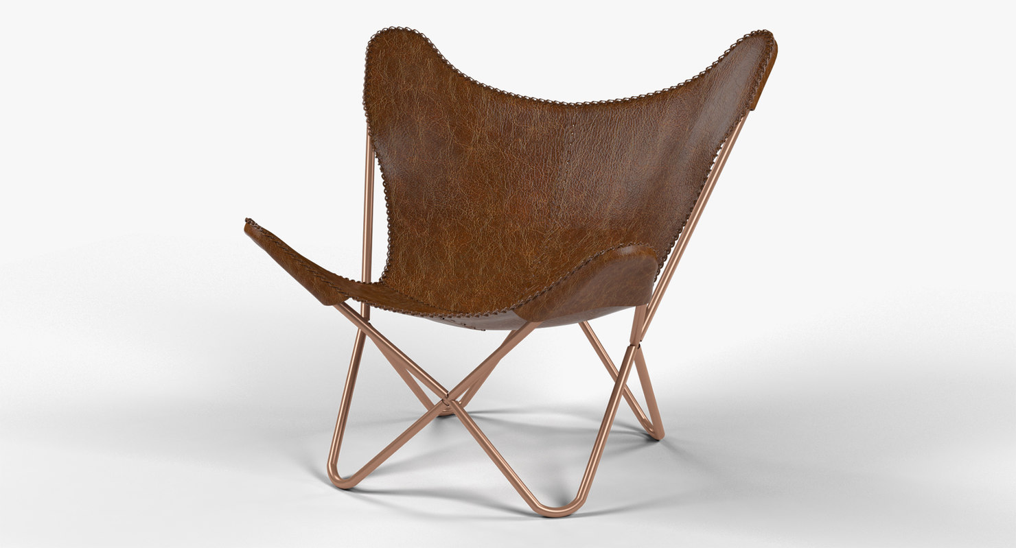 3d obj leather butterfly chair