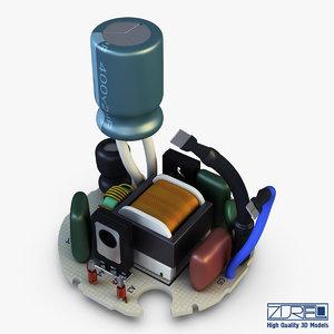 circuit board v 1 3d model