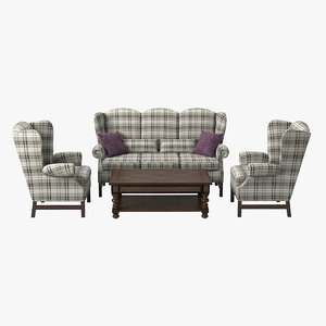 english style furniture set 3d model