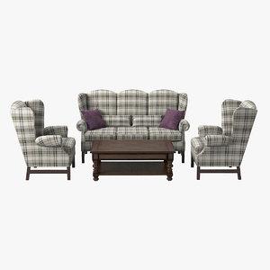 english style furniture set 3d model