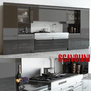 scavolini baccarat kitchen 3d max