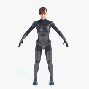 female soldier 3d model