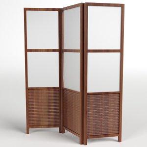 folding screen panel room divider 3d max