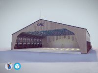 low-poly hangar 3d model