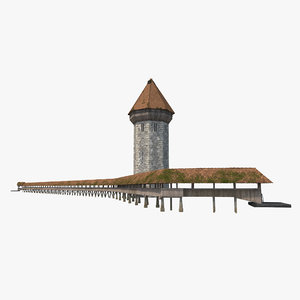 3d chapel bridge wooden footbridge model