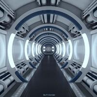sci-fi spaceship corridor 3d max