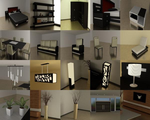 modern interior 36 pieces 3d model