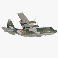 Lockheed C-130H Hercules L-382 Japan Air Force Rigged 3D Model