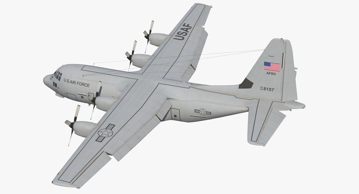 3d lockheed c-130 hercules military transport