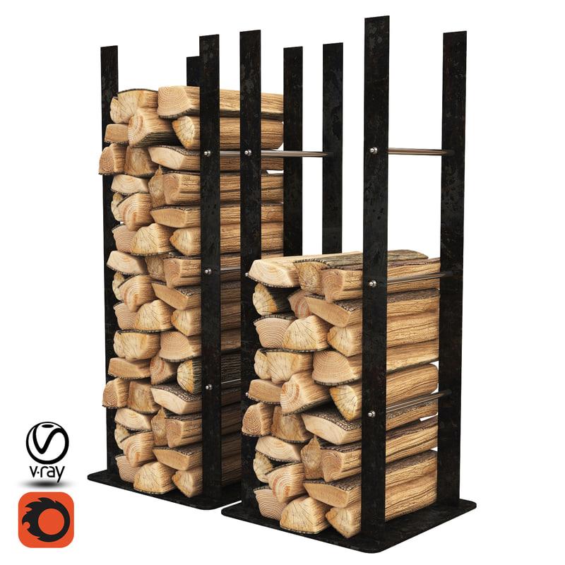 firewood storage rack 3d model