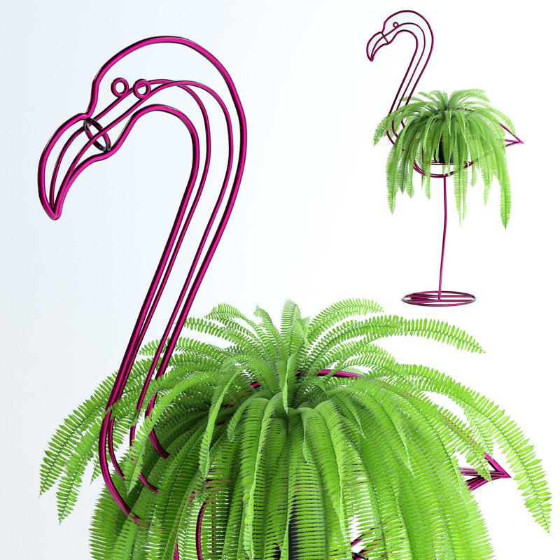 3d realistic fern pink flamingo