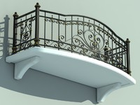 3d model architectural balcony