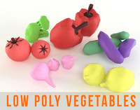 Vegetables Low Poly Set Cucumber Onion Pepper Broccoli Tomato