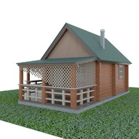 wooden country house 3d 3ds